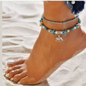 Turquoise beaded shell anklet
